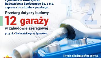 TBS Sp. z o.o. zaprasza do udziału w przetargu na budowę 12 garaży przy ul. Chełmońskiego w Zgorzelcu
