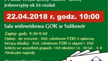 """Klub Sportowy Bazalt Sulików zaprasza 22.04 o godz. 10:00 do GOK w Sulikowie na VI Turniej Brydża Sportowego Par """"SKALNIK""""."""