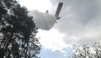 Do akcji gaśniczej zadysponowano samoloty gaśnicze z Lubina, Zielonej Góry i Poznania (fot.: KP PSP Zgorzelec)