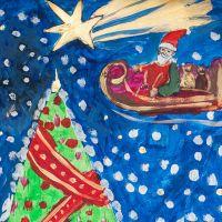 Mikołaj przy choinkach