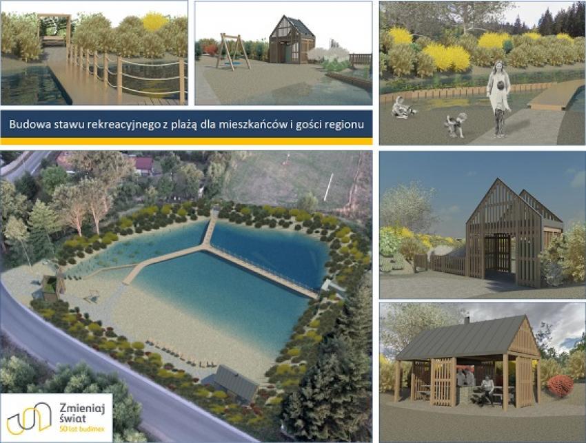 Budowa ekologicznego stawu rekreacyjnego z plażą dla mieszkańców i gości regionu - wizualizacja