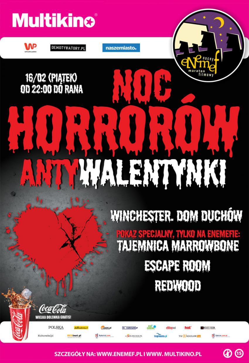 Noc Horrorów - Antywalentynki odbędzie się 16 lutego 2018 r. (piątek) jednocześnie w 30 Multikinach w Polsce. | mat. prasowe