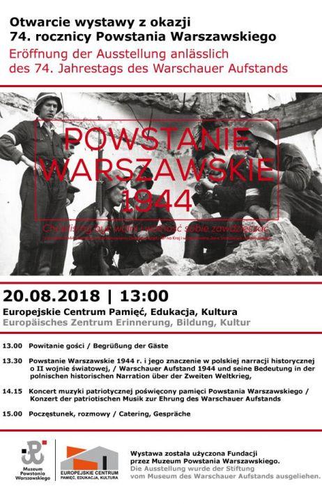 Otwarcie wystawy z okazji 74. rocznicy wybuchu Powstania Warszawskiego