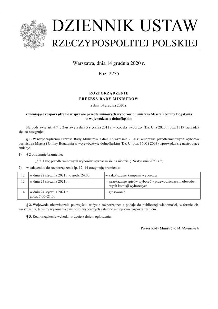 Przedterminowe wybory na burmistrza Bogatyni odbędą się 24 stycznia 2021 r.