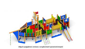 Zdjęcie poglądowe placu zabaw z urządzeniami sprawnościowymi