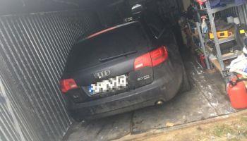 Skradzione Audi A6 w garażu / fot. KPP Zgorzelec