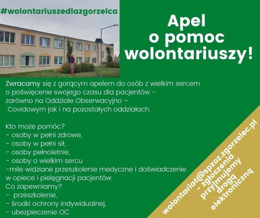 Zgorzelecki szpital szuka wolontariuszy do pomocy na oddziale oberwacyjno-covidowym
