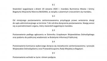 Postanowienie o wygaśnięciu mandatu Burmistrza Miasta i Gminy Bogatynia Wojciecha Błasiaka