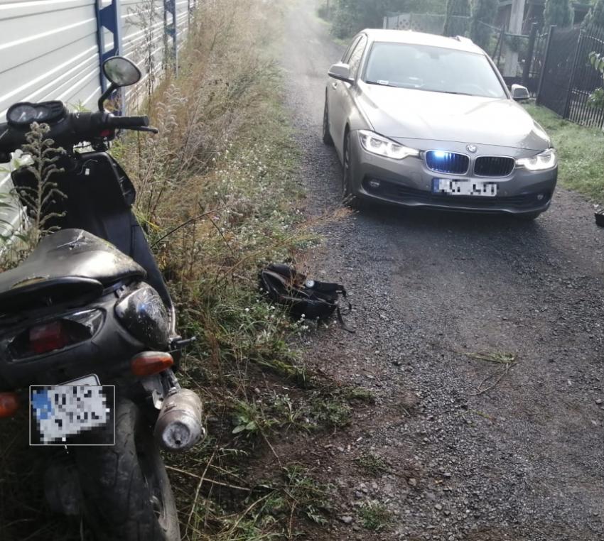Motorower oraz nieoznakowany radiowóz policyjny / fot. KPP Zgorzelec