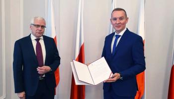 Wojewoda Dolnośląski Jarosław Obremski i pełniący funkcję Burmistrza Miasta i Gminy Bogatynia Wojciech Dobrołowicz / fot. UMiG B