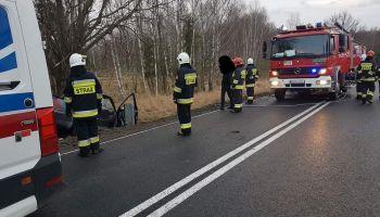 Śmiertelny wypadek pomiędzy Starym Węglińcem a Węglińcem / fot. OSP Stary Węgliniec