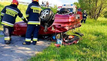 Wypadek na DW 352 pomiędzy Posadą a Bratkowem / fot. OSP KSRG Sieniawka