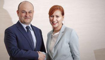 Burmistrz Rafał Gronicz oraz Franziska Schubert - kandydatka na nadburmistrza Görlitz / fot. Robert Gruszecki