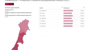 Frekwencja do godz. 17:00 w wyborach na Prezydenta Rzeczypospolitej Polskiej w 2020 r.