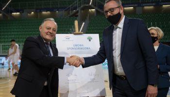Wojciech Dąbrowski - prezes zarządu PGE Polskiej Grupy Energetycznej i Piotr Borowy - prezes zarządu KS Turów Zgorzelec