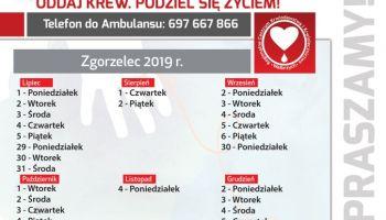Harmonogram 2019 stacjonowania mobilnego punktu poboru krwi w Zgorzelcu
