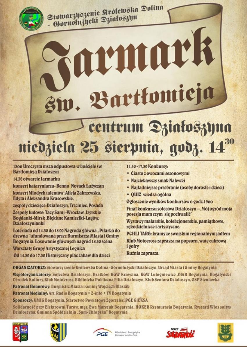 Jarmark św. Bartłomieja 2019 w Działoszynie - program