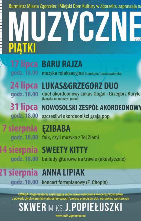 """Muzyczne Piątki 2020: Znamy wykonawców, którzy zagrają """"pod lipami"""" na skwerze ks. Popiełuszki"""