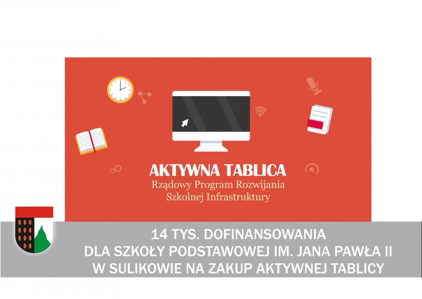 """Szkoła Podstawowa im. Jana Pawła II w Sulikowie wzbogaci się o """"Aktywną Tablicę"""""""