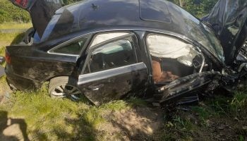 Śmiertelny wypadek na DW352 na wysokości Koźmina / fot. KP PSP Zgorzelec