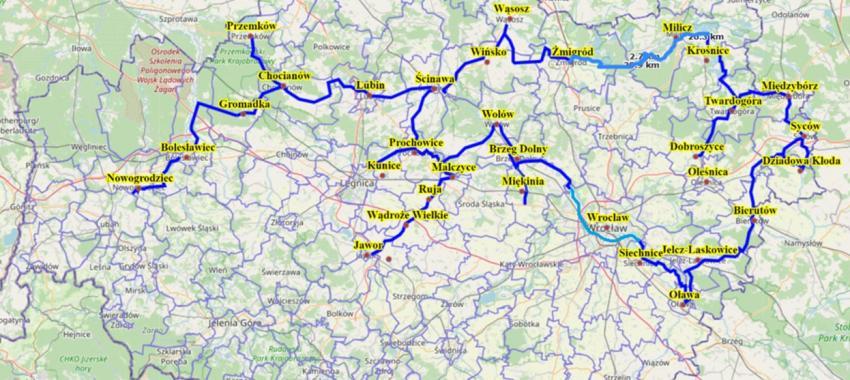 Przebieg Dolnośląskiej Autostrady Rowerowej