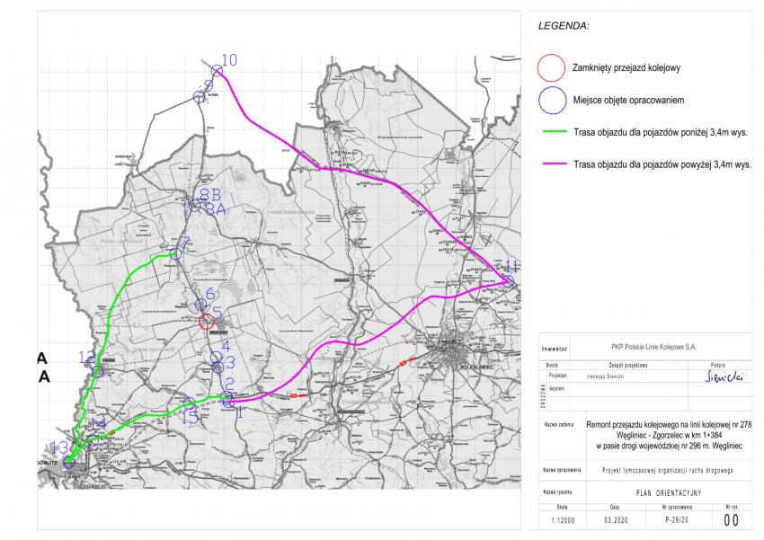 Mapka - objazd drogą wojewódzką 351 i krajową 94