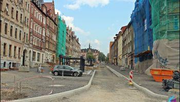Ulica Bohaterów Getta w Zgorzelcu w trakcie przebudowy