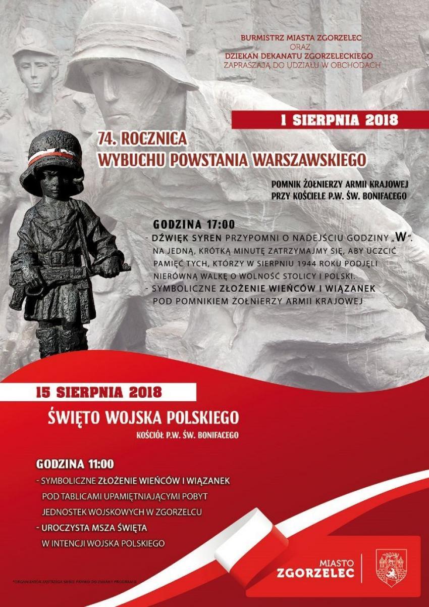 Burmistrz Miasta oraz Dziekan Dekanatu Zgorzeleckiego zapraszają na obchody 74. rocznicy wybuchu Powstania Warszawskiego