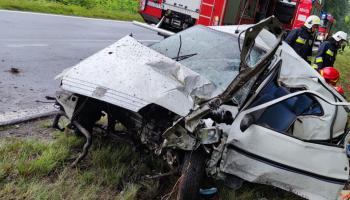 Kolizja na DW296 w gminie Węgliniec. Peugeot uderzył w drzewo / fot. KPP Zgorzelec