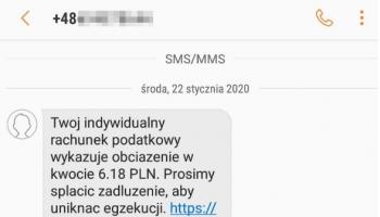 Fałszywy SMS dot. zaległości na mikrorachunku podatkowym / KAS