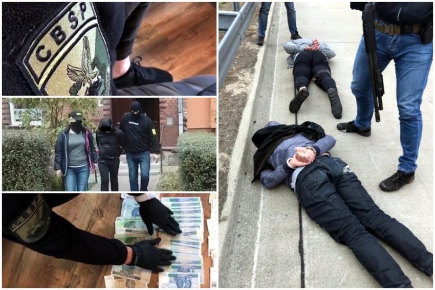 Funkcjonariusze zatrzymali 6 osób, w tym kuriera przewożącego do kraju 10 litrów płynnej amfetaminy (fot. CBŚP)