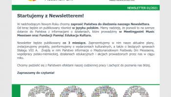 Newsletter stowarzyszenia Meetingpoint Music Messiaen e.V. we współpracy z Fundacją Pamięć, Edukacja, Kultura