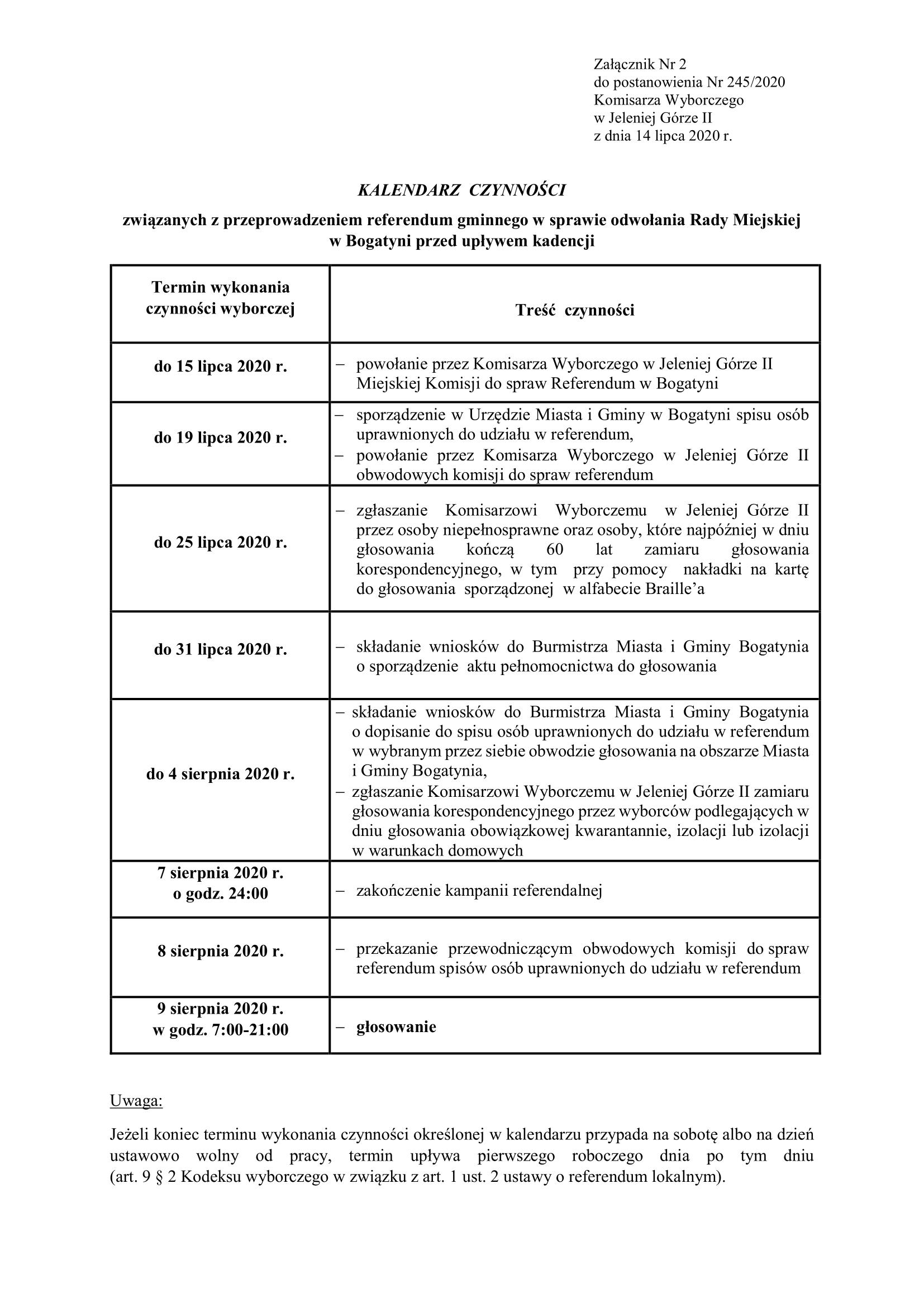 Kalendarz czynności związanych z ogłoszonym referendum gminnym w Bogatyni