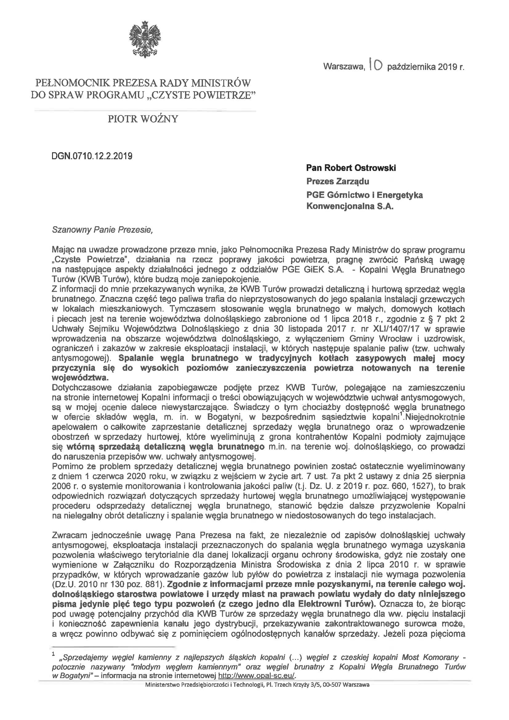 •List Pełnomocnika Rządu, Piotra Woźnego, do władz PGE