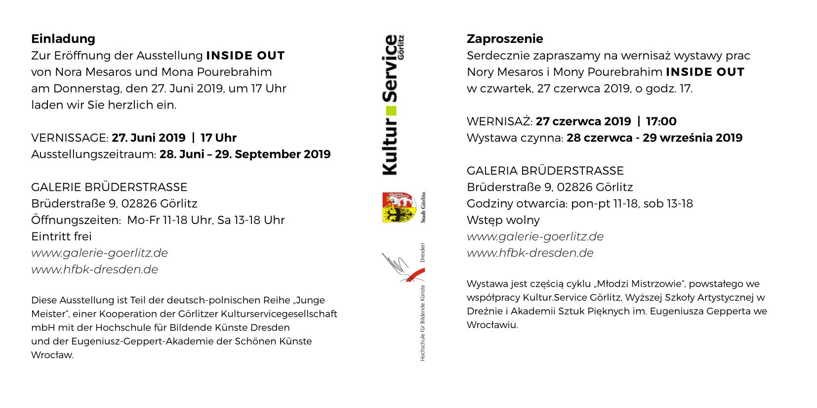Zaproszenie na wernisaż wystawy Inside Out