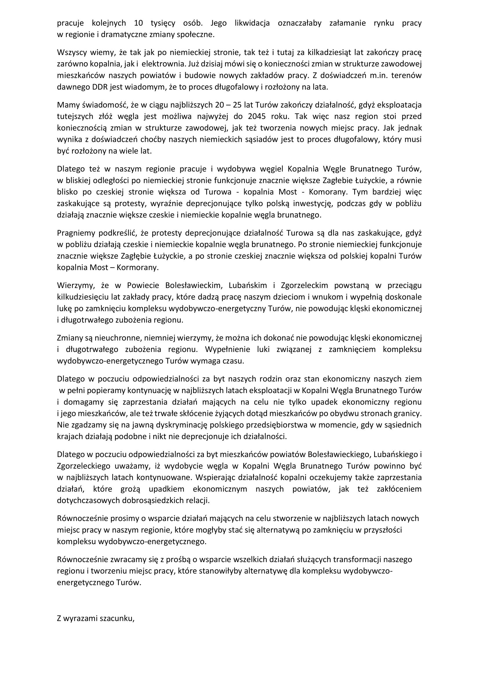List do Komisji Europejskiej w sprawie poparcia dla elektrowni i kopalni Turów