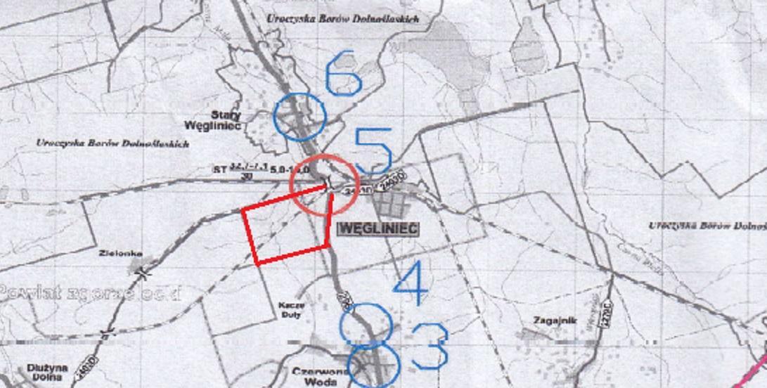 Mapka objazdu dla mieszkańców gminy Węgliniec