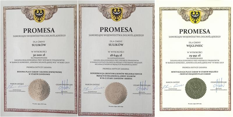 Promesy dla Gminy Sulików i Gminy Węgliniec