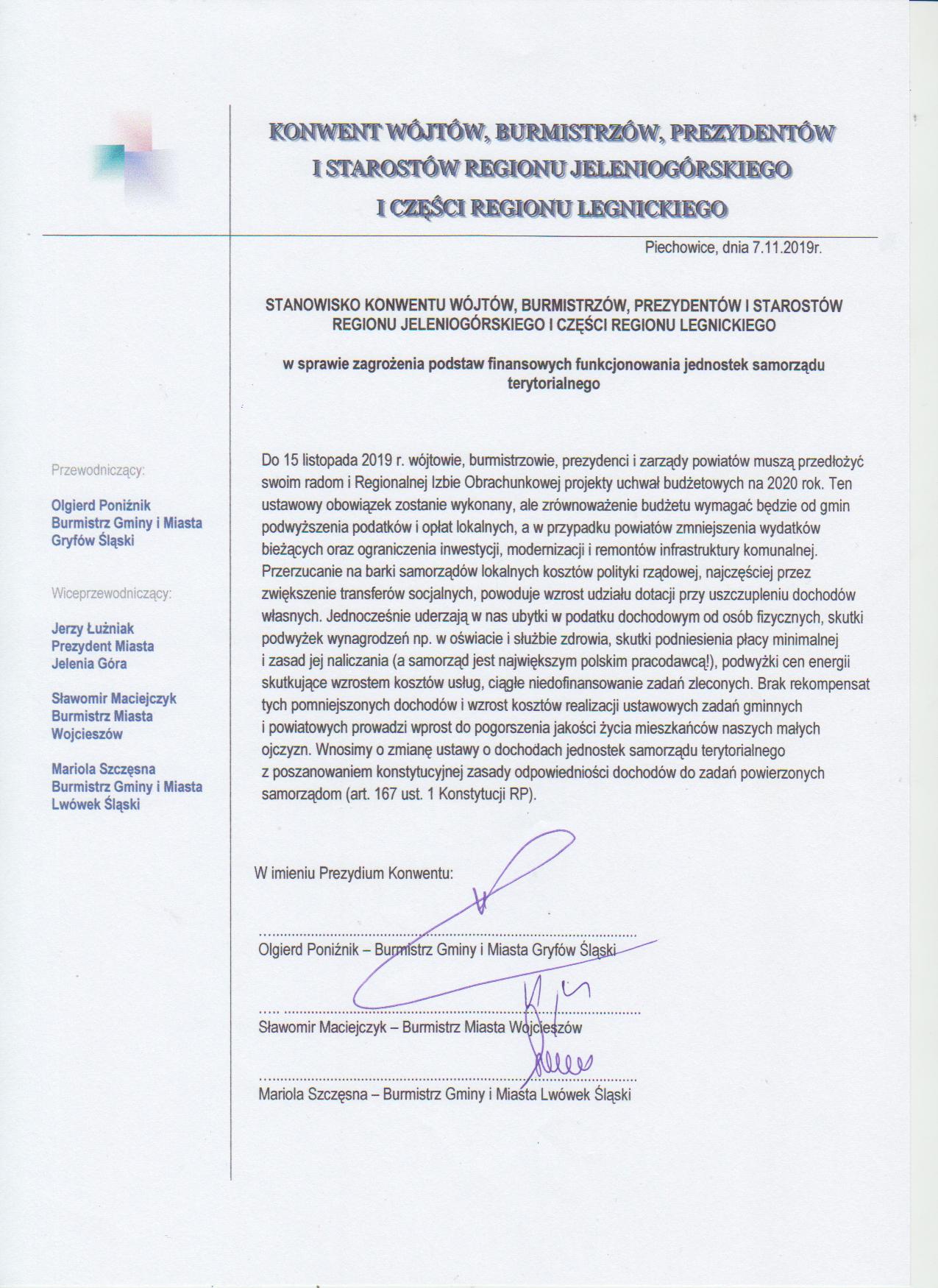 Stanowisko w sprawie zagrożenia podstaw finansowych funkcjonowania jednostek samorządu terytorialnego